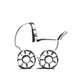 baby stroller sketch icon isolated on vector image