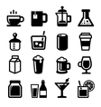 Drinks Icons Set on White Background vector image