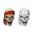 Skull pirate in bandana smiling Black vintage vector image