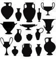ancient greek vase silhouette set greece icon vector image