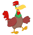 Colorful Rooster Walking And Waving vector image
