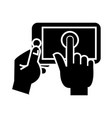 hands touching tablet icon vector image