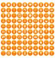 100 active life icons set orange vector image vector image