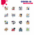 16 flat color filled line coronavirus epidemic vector image vector image