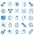 ai and machine learning blue icons set - chip in vector image