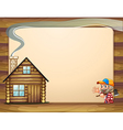 An empty template with a house and a woodman vector image vector image