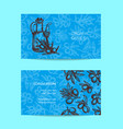 business card template with hand drawn vector image