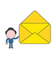 businessman character holding opened mail vector image