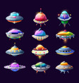 cartoon ufo alien spaceships and space crafts set vector image vector image