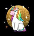 fantasy animal horse unicorn on sparkle g vector image