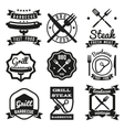 Fast food BBQ barbecue vintage emblems vector image