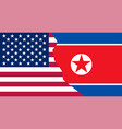 flags north korea and usa in superimposition vector image vector image