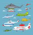 helicopter copter aircraft or rotor plane vector image