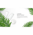 herbal cosmetic bottle and natural cream ad vector image