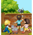 Kids painting brick wall in the garden vector image