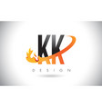 kk k k letter logo with fire flames design and vector image vector image