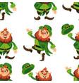 leprechaun cartoon character seamless pattern vector image vector image