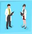 medical staff man and woman medical examination vector image vector image