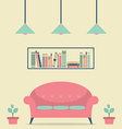 Modern Design Interior Chair and Bookshelf vector image vector image