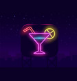 neon cocktails bar sign on dark brick wall vector image vector image