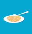 oat porridge in plate and spoon isolated healthy vector image vector image