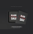 realistic black shopping box with lettering black vector image vector image