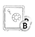 safe box with bitcoin isolated icon vector image