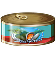 Seafood in aluminum can vector image vector image