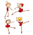 Simple sketch of the ballet dancers wearing red vector image vector image