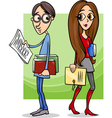 Students couple in love cartoon