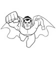 superhero coming at you line art vector image vector image