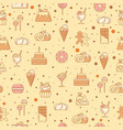 sweet seamless pattern with cupcakes candy vector image vector image
