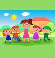 teacher with kids near school vector image vector image