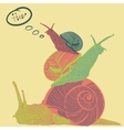 Three colorful snails with speech bubble vector image vector image