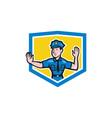 Traffic Policeman Stop Hand Signal Shield Cartoon vector image vector image