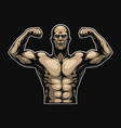 vintage colorful muscular bodybuilder template vector image