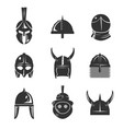 warrior helmet flat icon set vector image