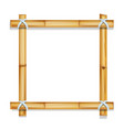 wooden frame bamboo sticks realistic vector image