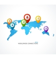 World Map with color geo location pin vector image