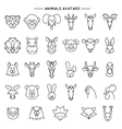 Animal heads in thin line style icons set vector image