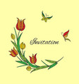 orange tulip invitation with butterfly vector image