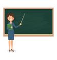 female teacher standing near of blackboard vector image