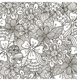 Floral doodle black and white seamless pattern vector image