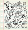 set of cute christmas doodles vector image