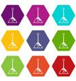 balalaika icon set color hexahedron vector image vector image