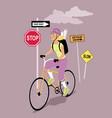 bike messenger vector image vector image