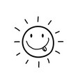 black silhouette of smiling sun with tongue out vector image vector image