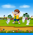 boy are playing with three rabbits vector image vector image
