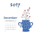 Calendar december 2017 Template Week vector image vector image
