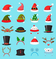 cartoon christmas hat xmas different hats winter vector image vector image